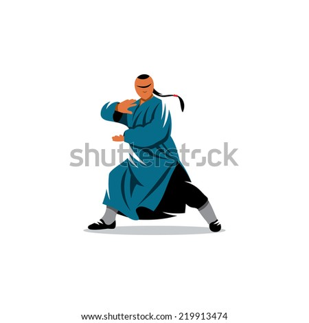 Shaolin monk Branding Identity Corporate vector logo design template Isolated on a white background - stock vector
