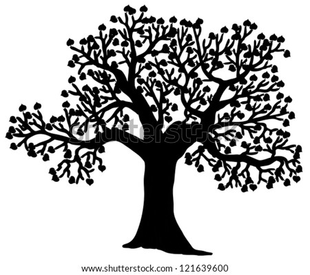 Shaped silhouette of tree - vector illustration. - stock vector