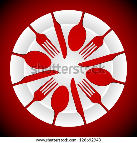 shapes of cutlery including knife, fork and spoon, cut out of a china plate. AI10 EPS has gradients for plates and background