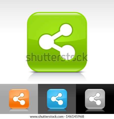 Share icon. Blue, orange, green, gray color glossy web button with white sign. Rounded square shape with shadow, reflection on white, gray, black background. Vector illustration element 8 eps  - stock vector