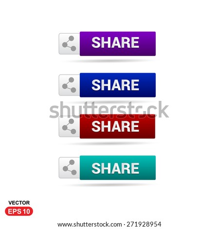 Share Icon Button. Abstract beautiful text button with icon. Purple Button, Blue Button, Red Button, Green Button, Turquoise button. web design element. Call to action gray icon button