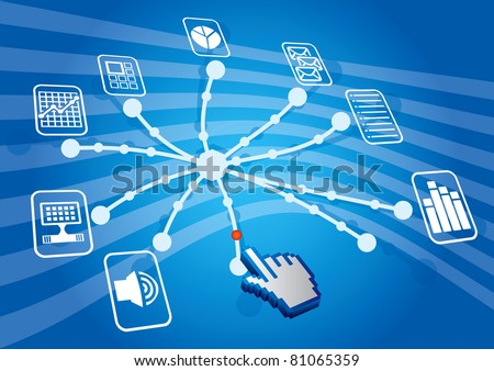 Share illustration with document icons and abstract hand - stock vector