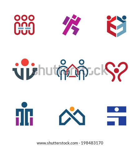 Share people community help for rebuilding society logo icon set - stock vector