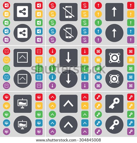 Share, Smartphone, Arrow up, Arrow down, Speaker, Graph, Key icon symbol. A large set of flat, colored buttons for your design. Vector illustration - stock vector