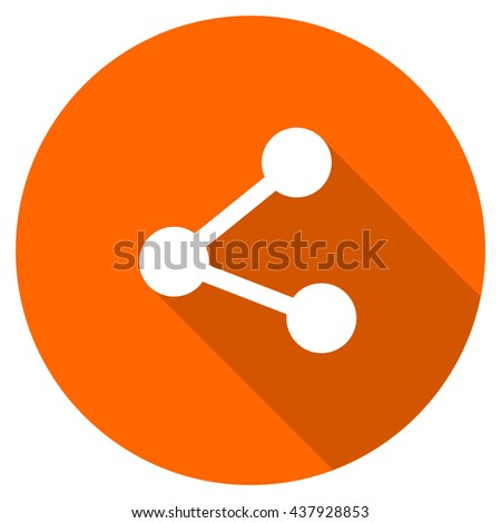 share vector icon, orange circle flat design internet button, web and mobile app illustration