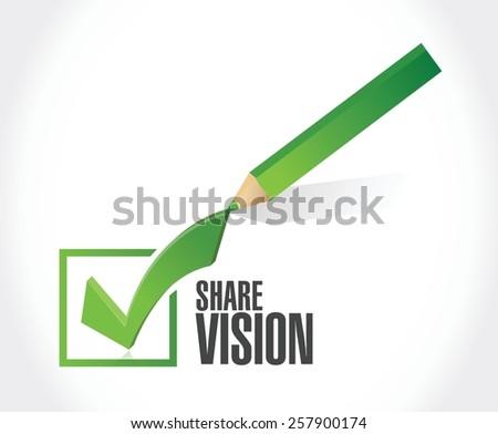 shared vision check mark illustration design over white background - stock vector
