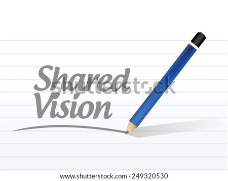 shared vision message illustration design over a white background - stock vector