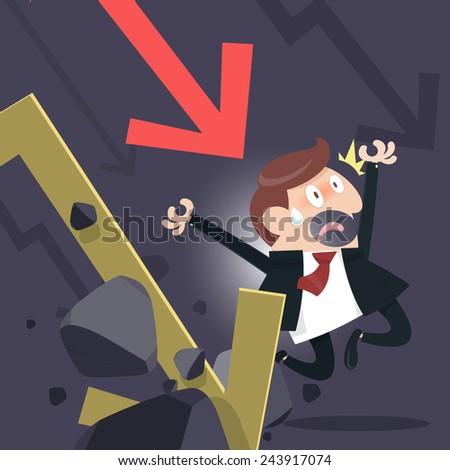 Shares fall - stock vector