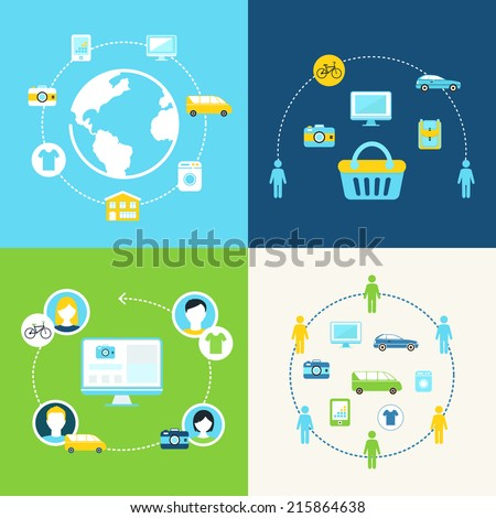 Sharing Economy and Collaborative Consumption Concept Illustration - stock vector