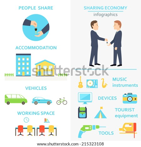 Sharing Economy and Collaborative Consumption Infographics Set - stock vector