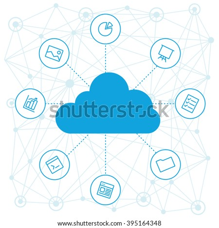 Sharing files and cloud materials employees project. Cloud tools for business and work. Cloud technology and service in vector isolated. Social networking and media, cloud technology and trend. Vector - stock vector