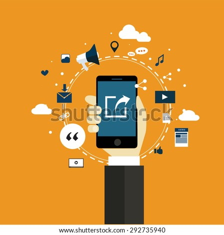 sharing internet of things technology flat design vector - stock vector