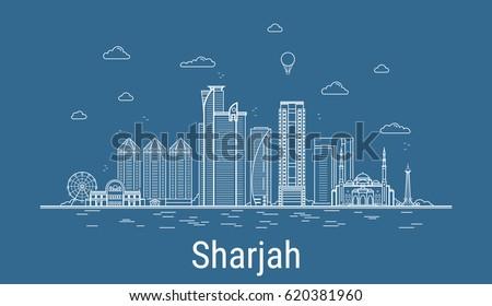 Line Art City : Sharjah city line art vector illustration stock