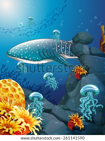 Shark and jelly fish under the ocean - stock vector