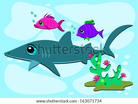 Four Different Cartoons Cute Funny Fish Stock Vector ... |Cartoon Fish Friends
