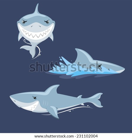 Shark attack jaw teeth mad furious view, vector illustration cartoon.  - stock vector
