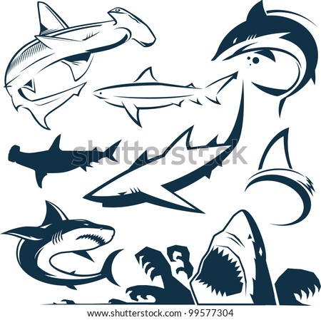 Shark Collection - stock vector