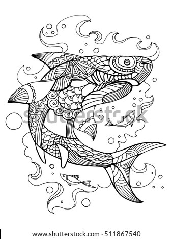 shark coloring book for adults vector illustration anti stress coloring for adult tattoo