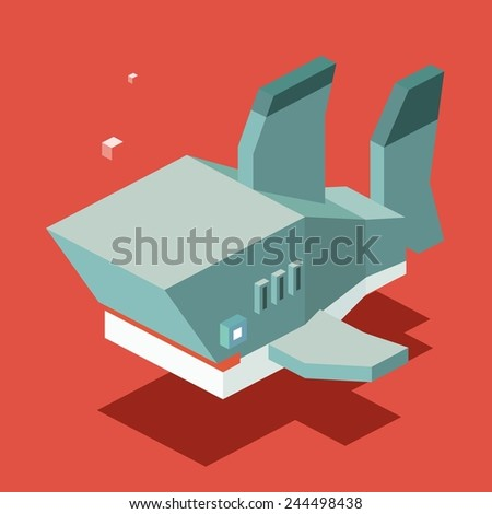 shark. 3d pixelate isometric vector - stock vector