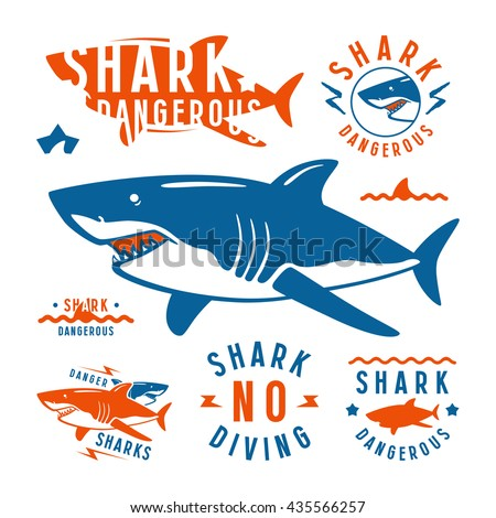 Shark dangerous emblems, labels and design elements. Color print on white background