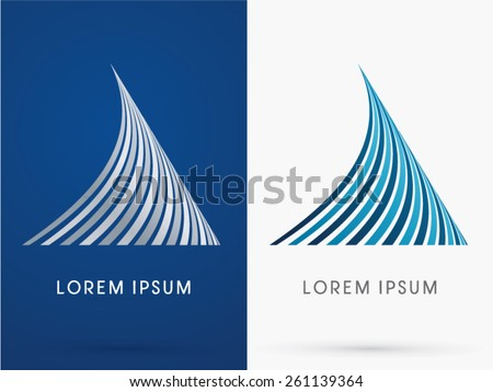 Shark fin, Abstract  Shape, designed using blue and black line, geometric shape , logo, symbol, icon, graphic, vector. - stock vector