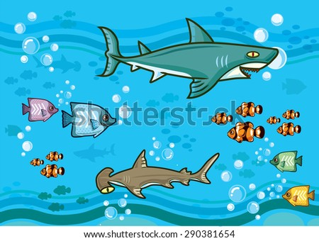 shark fish in deep blue sea - stock vector