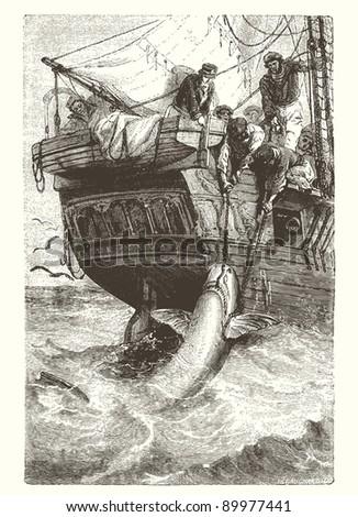 "Shark fishing Vintage engraved illustration - ""Cent récits d'histoire naturelle"" by C.Delon published in 1889 France - stock vector"