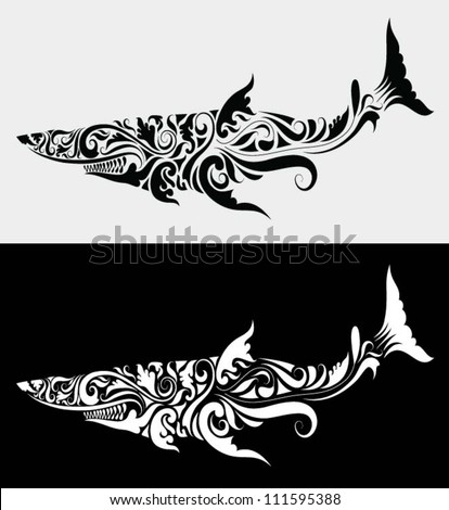 Shark floral ornament. Fish drawing with flora decorative ornament. Use for tattoo or any design you want. - stock vector