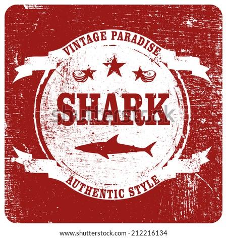 shark grunge shield - stock vector