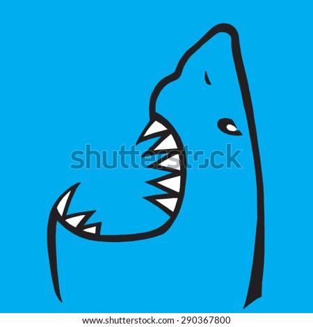 shark head - stock vector