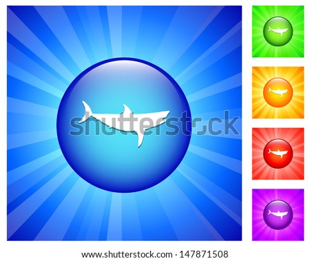 Shark Icon on Round Button with Blue Glow - stock vector