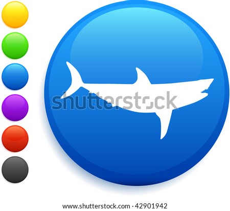 shark icon on round internet button original vector illustration 6 color versions included - stock vector