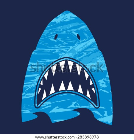 Shark illustration, typography, t-shirt graphics, vectors - stock vector