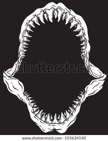 Shark Jaw Isolated On Black - stock vector