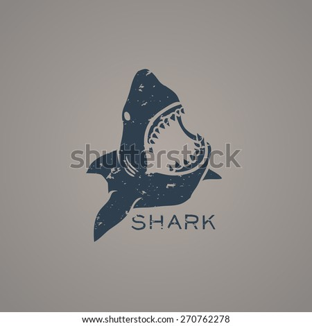 Shark logo with grunge style. Vector Illustration - stock vector