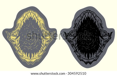 shark mouth open vector hand draw illustration - stock vector
