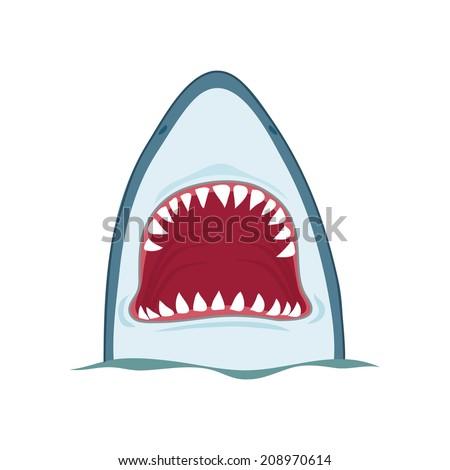 Shark open mouth, vector illustration on white background - stock vector