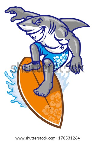 shark surfer - stock vector