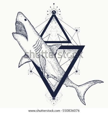 Shark Tattoo Geometric Style Tribal Art Attack T Shirt Design Hand Drawn