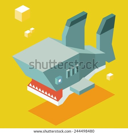 shark teeth. 3d pixelate isometric vector - stock vector