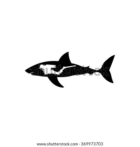 Shark with diver icon. Simple black vector symbol. Logo for web. Image for business.