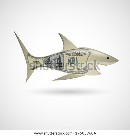 Shark with dollar pattern on white background - stock vector