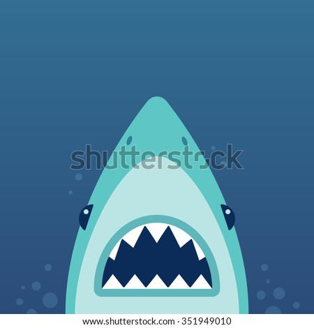 Shark with open jaws and sharp teeth. Vector illustration in flat cartoon style. - stock vector