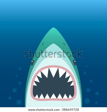 Shark with open mouth. Shark isolation on a blue background. Flat vector illustration - stock vector