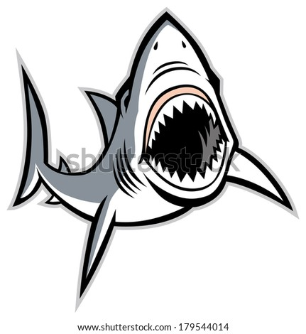 shark with opened mouth - stock vector
