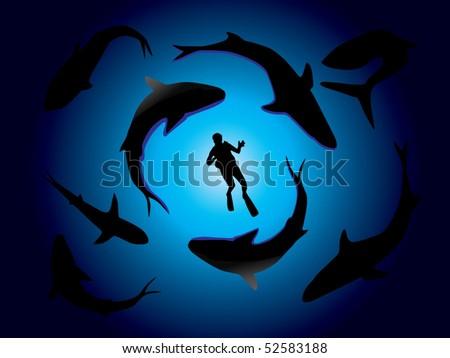 Sharks and scuba diver vector - stock vector
