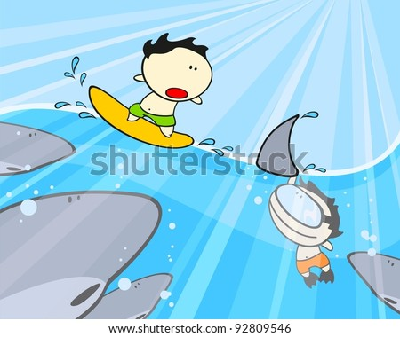 Sharks, diver and his friend surfer