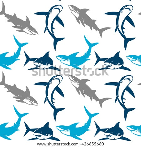 Sharks silhouettes seamless pattern. Elegant seamless pattern with abstract shark symbols, design elements. Can be used for invitations, greeting cards, scrapbooking, print, gift wrap, manufacturing. - stock vector