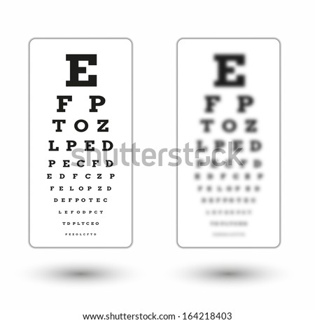 sharp and unsharp snellen chart with shadow on white background