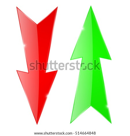 Sharp arrows. Green up and red down icons. Vector illustration isolated on white background
